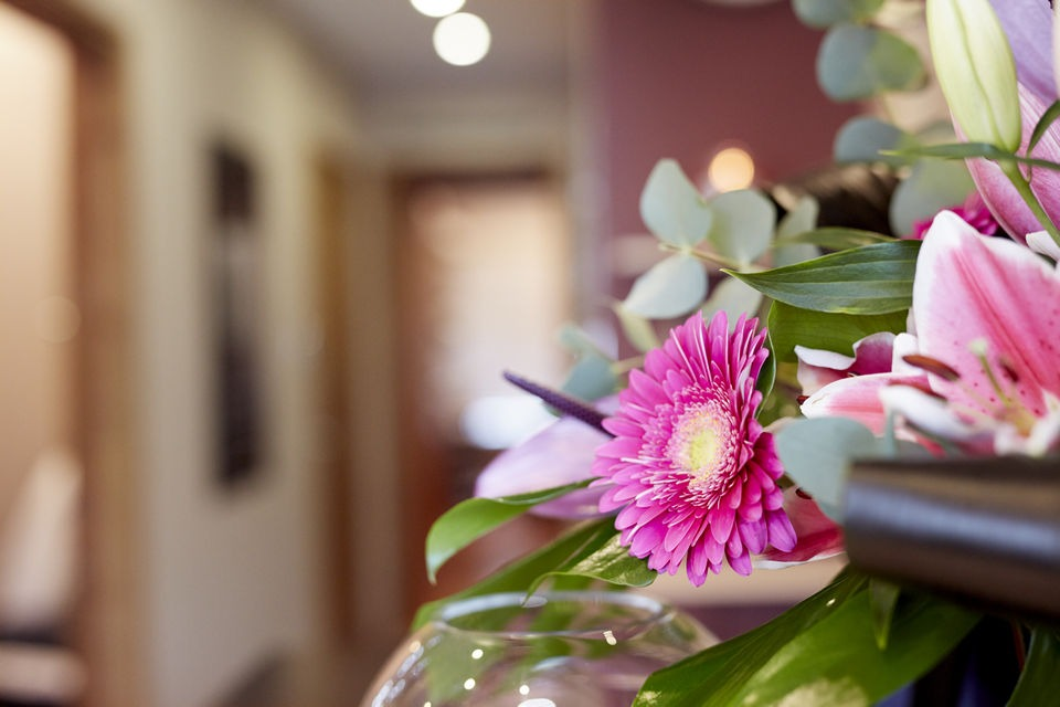 Flowers in salon corridor